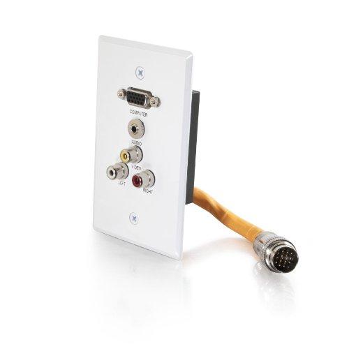 C2G 60030 RapidRun Single Gang Integrated VGA (HD15) + 3.5mm + Composite Video + Stereo Audio Wall Plate, -