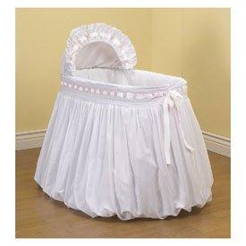 BabyDoll Pretty Ribbon Bassinet Liner/Skirt and Hood, White, 17''x31''