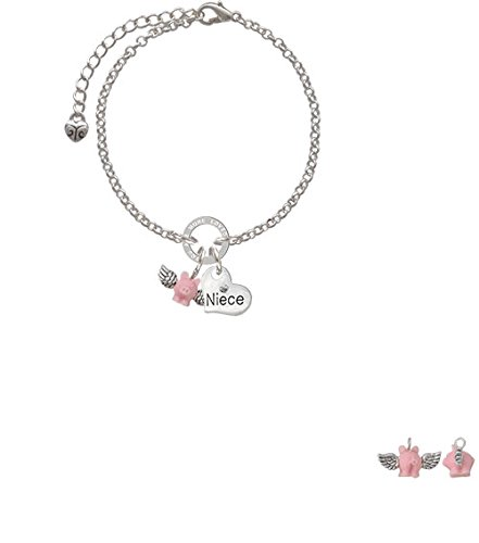 Silvertone Mini Pink Flying Pig Niece You Are Loved Circle Bracelet 8