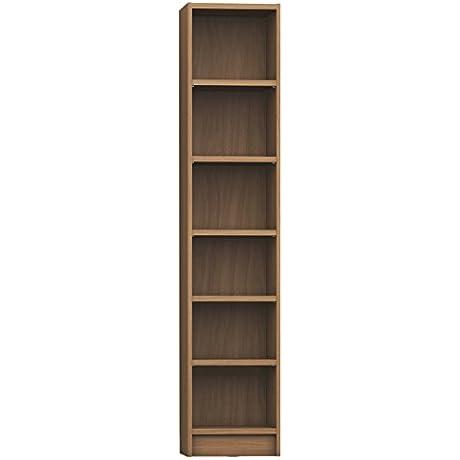 Manhattan Comfort Greenwich Venti Narrow Open Bookcase 1 0 Collection Modern Free Standing 6 Shelf Bookcase 16 5 L X 12 5 D X 80 5 H Maple Cream