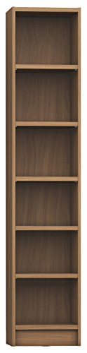 Manhattan Comfort Greenwich Venti Narrow Open Bookcase 1.0 Collection Modern Free Standing 6 Shelf Bookcase, 16.5