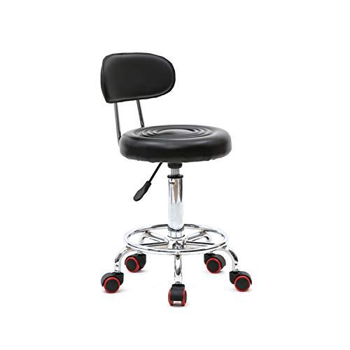 Be Well Medical Spa Stool with Back, Massage Salon Drafting Stool on Wheels for Office Desk Home Kitchen Massage Medical Salon Artist – Black