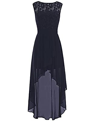 BeryLove Women's Lace Hi Low Bridesmaid Dress Belt Chiffon Homecoming Gown