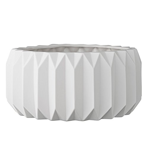(Bloomingville A21900023 Shallow White Fluted Ceramic Flower Pot)