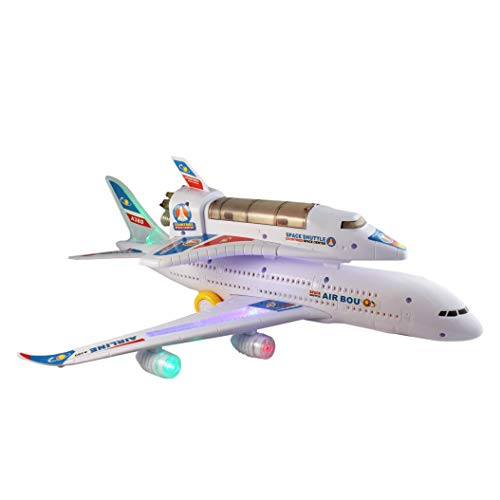 P&F Airplane Airbus & Spacecraft Electronic Toy Bump & Go Action 2-Layer Aircraft Lights & Sounds