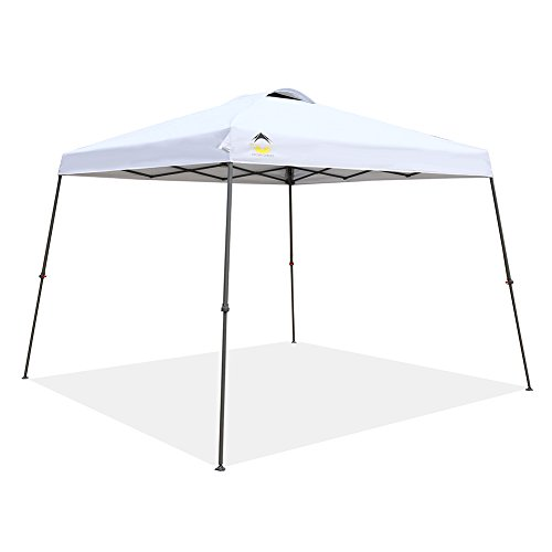 (CROWN SHADES Patented 11ft. x 11ft. Slant Leg One Push Up Clia Instant Folding Canopy with Wheeled Bag, White)