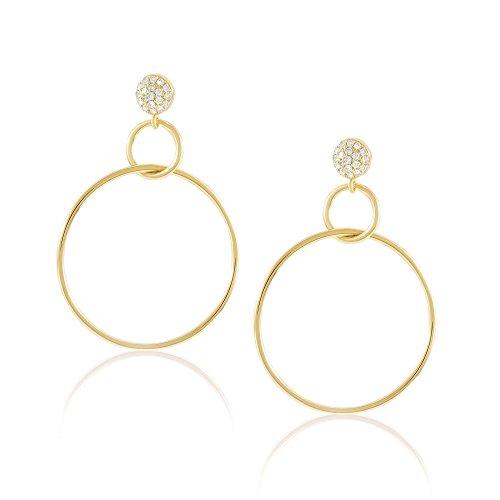 Diamond Hoop Earring, Double Circle, 14K Gold - Fine Jewelry by Juliette ()