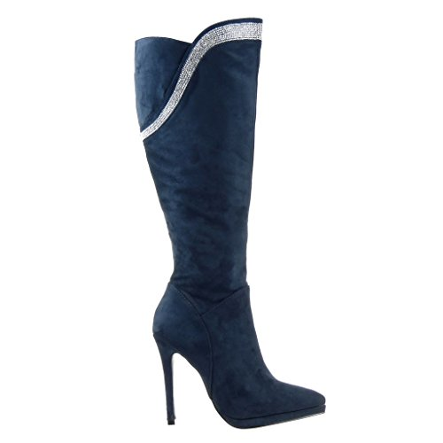 Angkorly - Scarpe da Moda Stivali - Scarponi stiletto zeppe sexy donna strass Tacco Stiletto tacco alto 11.5 CM - Blu