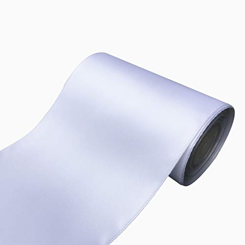QIANF 4 inch Wide Solid Color No Fading Double Face Satin Ribbon Great for Chair Sash - 10 Yard (112-White)
