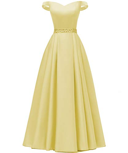 YORFORMALS Women's Off The Shoulder A-line Beaded Satin Evening Prom Dress Long Formal Gown with Pockets Size 2 Yellow