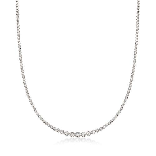 Ross-Simons 3.30 ct. t.w. Graduated Diamond Tennis Necklace in 14kt White Gold