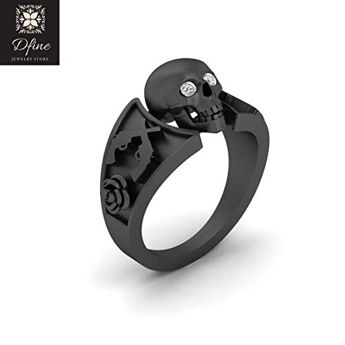 Skull Ring With Diamond Eyes Symbol Of Death Skull Ring Rose and Guns Skull Ring Solid 14k Gold