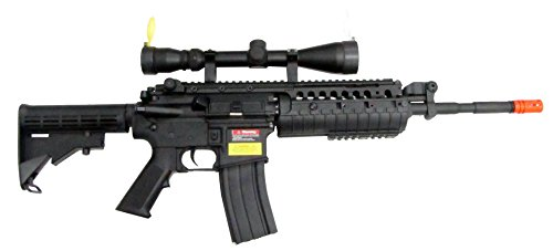 JG M4 RIS System with Rifle Scope Sniper Airsoft Gun 500 FPS by JG