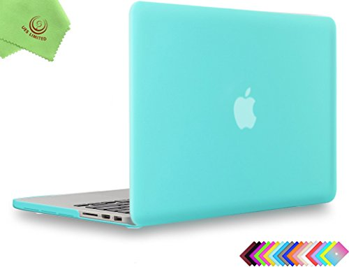 "UESWILL Soft-Touch Matte Hard Shell Case for MacBook Pro 13"" with Retina Display (No CD-ROM) (Models: A1502/A1425) + Microfibre Cleaning Cloth, Turquoise"