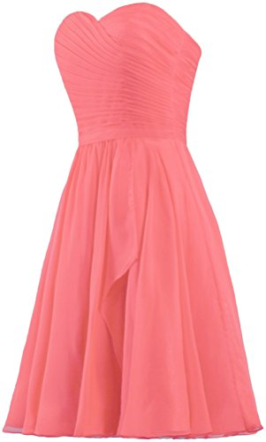 Bridesmaid Coral Dress Short Wedding Women's Dresses ANTS Chiffon Sweetheart Party vqzwnSRt