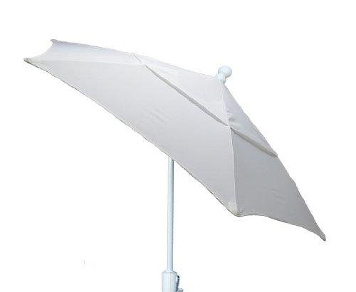 FiberBuilt Umbrellas Patio Umbrella with Push-Button Tilt, 7.5 Foot Natural Canopy and White Pole
