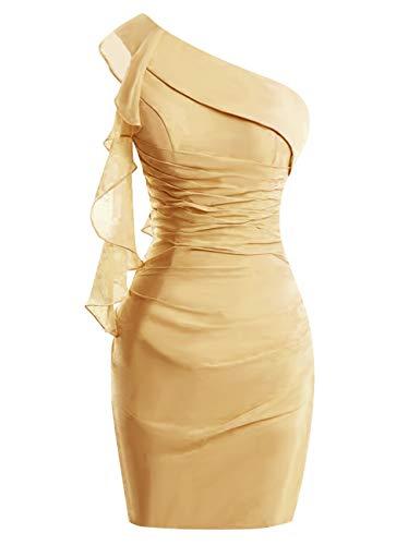 Bess Femmes De Mariée Moulante Une Épaule Mère Courte En Mousseline De Soie De L'or Robe De Mariée