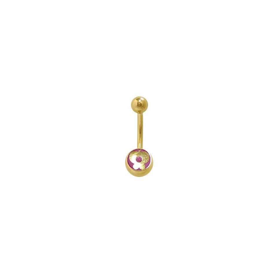 14k Gold Plated Butterfly Belly Ring with Purple Jewel