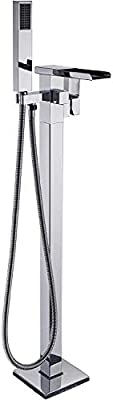 Rozin Floor Standing Waterfall Spout Bathtub Faucet with Handheld Shower Chrome Finish
