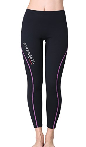 Suit Paddling (Dive & Sail Wetsuit Pants 1.5mm Women Neoprene Pants For Kayaking Surfing Snorkeling Padding (Purple & Black, 10))
