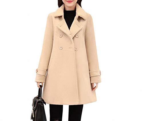 PLLP Coat Jacket, Woolen Coat, Woolen Coat, Female Winter Wear, Korean Slim, Long Double-Breasted Long-Sleeved Wool,Apricot,M ()