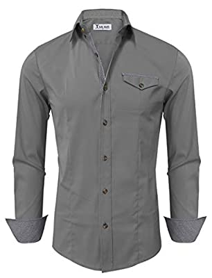 TAM WARE Mens Casual Inner Contrast Button Down Long Sleeve Shirt