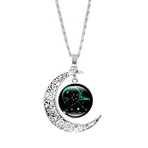12 Constellation Moon Necklace Pendant, Hollow Half Moon Crescent Time Gemstone Necklace Clavicle Chain Christmas New…