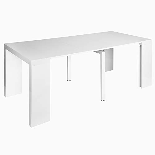 Dining Table Extendable Space Saving Dining Table Transforms from a Console Table or Desk to a Large Dining Table That Seats Up to 8(White Gloss 18