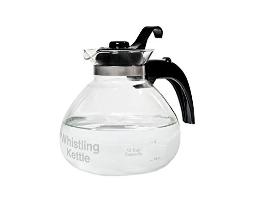 (CAFÉ BREW COLLECTION Glass Stovetop Kettle, Whistling, German Borosilicate, 12-Cup, 48oz. Heat Resistant, Tea, by Medelco, Model WK112, Electric & Gas)