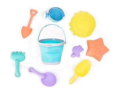 Dejaroo Silicone Beach Toys - 9 Piece Kid's Sand Toy Set - Buckets, Molds, Shovels, Rakes, Etc.