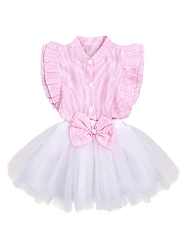 Little Girls Summer Outfit Holiday Floral Mini Dress Tops Shorts Clothing Set (B-Pink-White, 5T-6T)]()