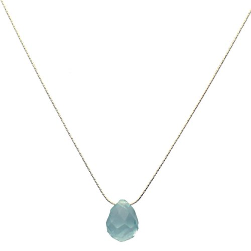 Sterling Silver Chain Faceted Aqua Glass Briolette Necklace 20