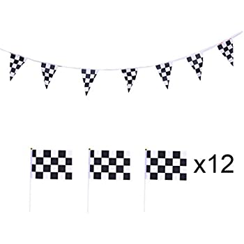Amazon.com: JINSEY 100ft Black and White Checkered Racing ...