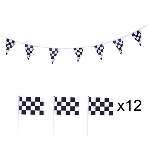 12pcs Black and White Chequered Formula One F1 Racing Banners Pennant Banner Hand Waving Flags (2 Banners and 10 Flags) ()