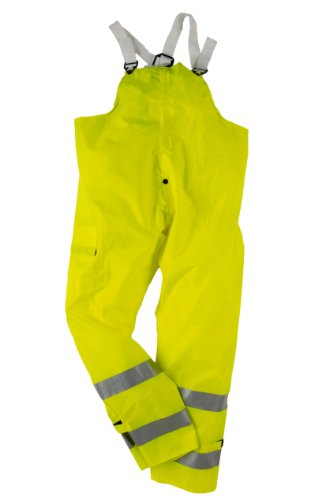 Neese Telcom 7002BTF Polyurethane/Nylon High Visibility Bib Trouser with Safety Fly, Large, Lime