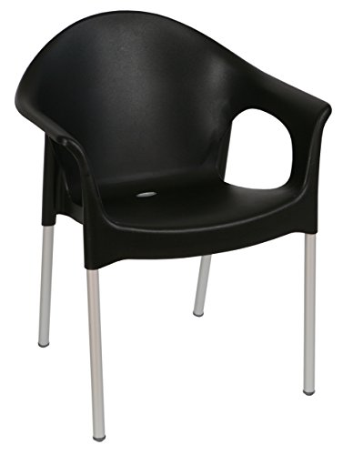 Tensai Lisa Collection Rounded Back Durable Plastic Chair - Black