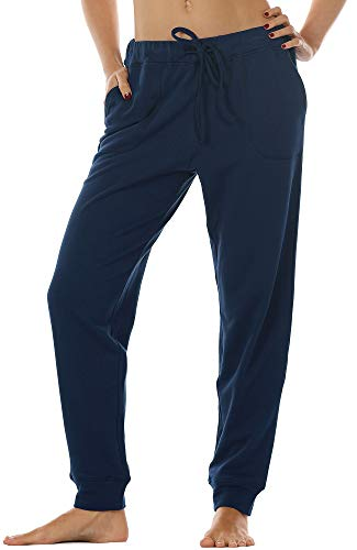 icyzone Women's Active Joggers Sweatpants - Athletic Yoga Lounge Pants with Pockets (Navy, XL)