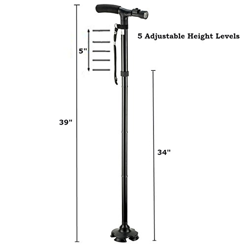 Kitchen Krush Travel Adjustable Folding Canes and Walking Sticks for Men and Women with Led Light and Cushion Handle for Arthritis Seniors Disabled and Elderly Best Mobility Aids Cane by Kitchen Krush (Image #2)