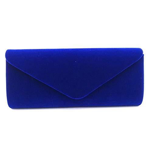 IBELLA Wedding Evening Party Velvet Clutch Bag Retro Envelope Cross Body Handbag (Royal blue)