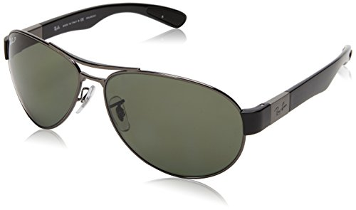 Ray-Ban RB3509 Aviator Sunglasses, Gunmetal/Polarized Green, 63 ()