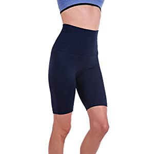Homma Women's Tummy Control Fitness Workout Running Yoga Shorts (Large, Navy)