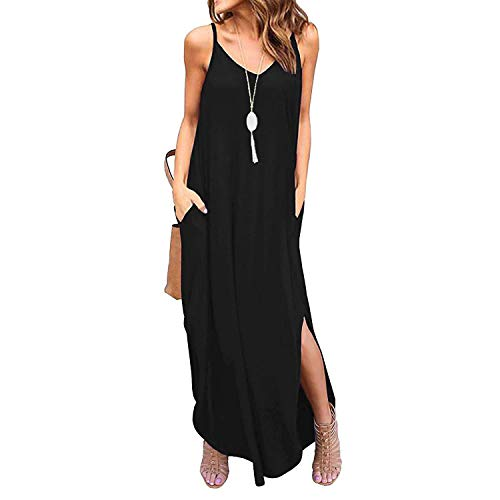 Century Star Women's Long Cami Maxi Dress Loose Spaghetti Strap Dress with Pockets Casual Beach Cover Up Black Large - Knot Wedge Sandal