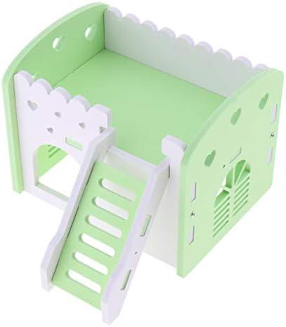 ハムスターハウス 2階 建て お家 飼育ケージ ペット用品 遊び場 おもちゃ 運動不足解消 全3色 - 緑