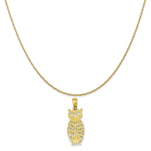 Yellow Owl 14k Gold (Mireval 14k Yellow Gold Owl Pendant on a 14K Yellow Gold Rope Chain Necklace, 18