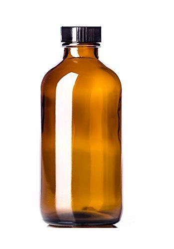 Amber Boston Round Plastic Bottles, 8 Oz. Pack of 6