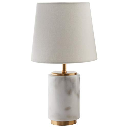 Rivet Mid Century Modern Marble Mini Table Decor Lamp With LED Light Bulb - 7.5 x 14 Inches, White Marble and Brass (Lamp Marble Bases)