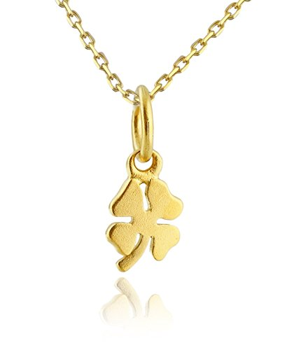 24k Gold Plated Sterling Silver Tiny Four Leaf Clover Charm Necklace, 18
