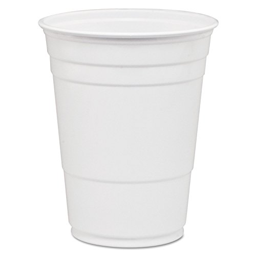 Party Plastic Cold Drink Cups, 16-18 Oz, White, 50/bag, 1000/carton