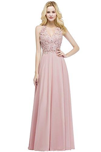 Babyonlinedress Halter V-Neck Lace Dresses for Women Party Wedding,NudePink,4 from Babyonlinedress