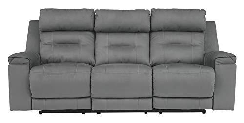 Signature Design by Ashley Trampton Power Reclining Sofa with Adjustable Headrest Smoke